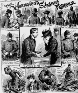 A set of illustrations showing the events behind the murder.