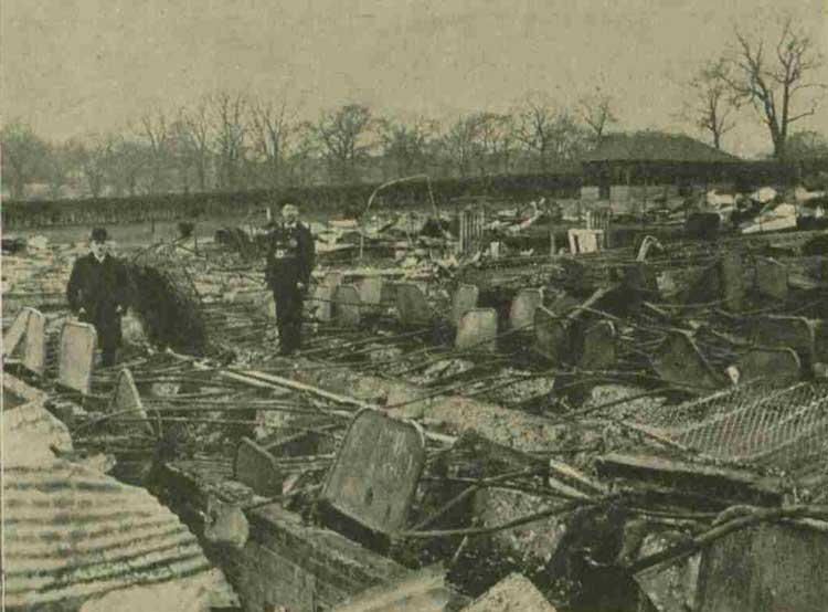 Officials inspecting the ruins of Colney Hatch Asylum.
