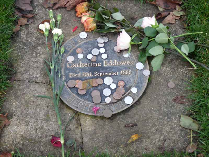 A photograph of the memorial plaque to Catherine Eddowes.