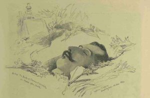 An illustration showing the lifeless body of the Duke of Clarence.