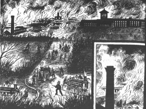 An illustration showing he firefighters tackling the blaze.