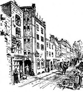 A sketch showing Dorset Street.