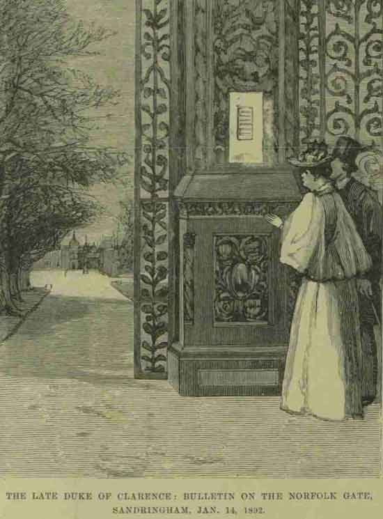 People gather outside a gate at Sandringham awaiting news on the Duke of Clarence.
