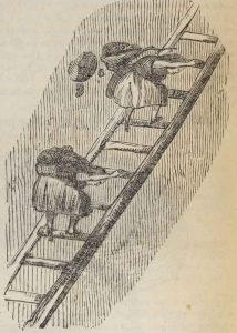 Two girls carry coal on their backs as they climb a ladder.