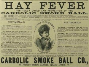 The Carbolic Smoke Ball Advert for protection against hay fever.