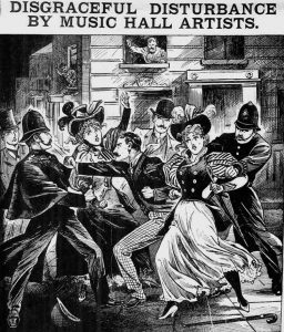The illustration showing the fight between police and the music hall artistes and their supporters.