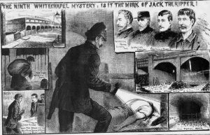 Illustrations showing scenes from the finding of the torso in Pinchin Street.
