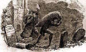 Bodysnatchers robbing a grave.