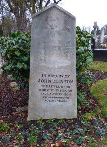 A photo showing the memorial gravestone to John Clinton.