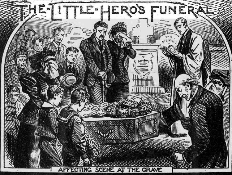 Illustrations showing the funeral of John Clinton.