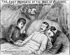 An Illustration showing the last moments of the Duke of Clarence.