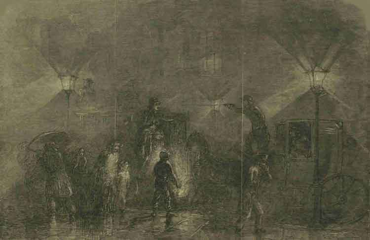 An illustration showing people moving around in a London fog.