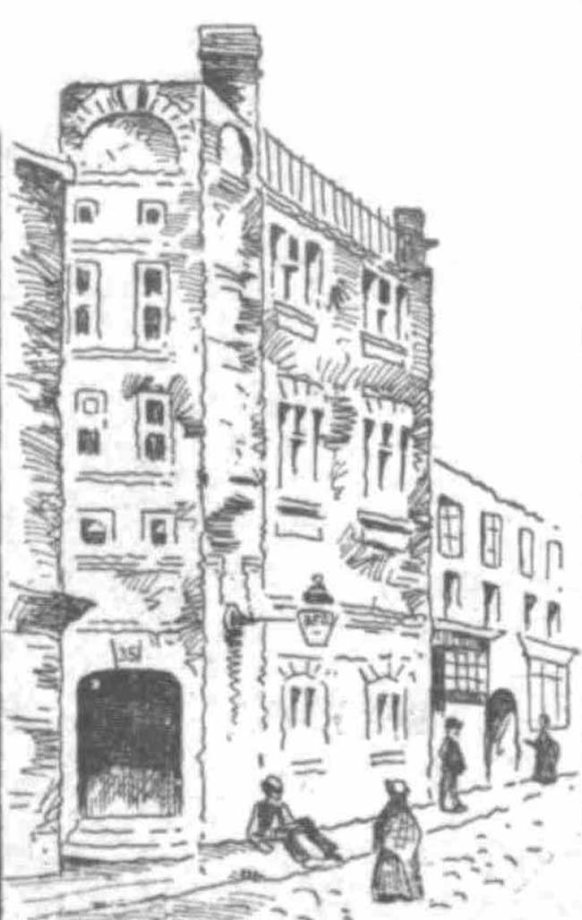 A sketch showing the exterior of 37 Dorset Street, scene of the murder of Annie Austin.