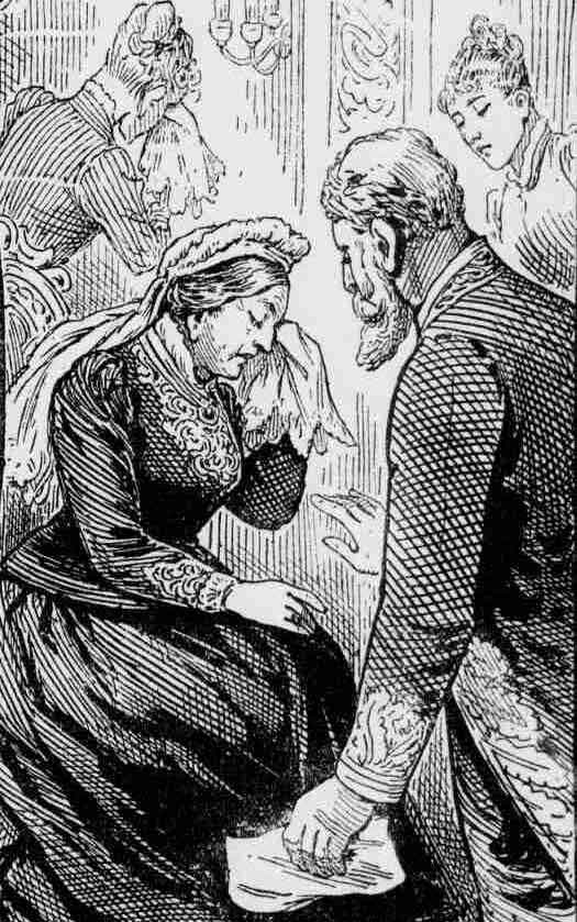 An illustration showing Queen Victoria weeping on receiving news of the death.