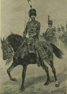 The Duke of Clarence dressed as an officer riding his horse.