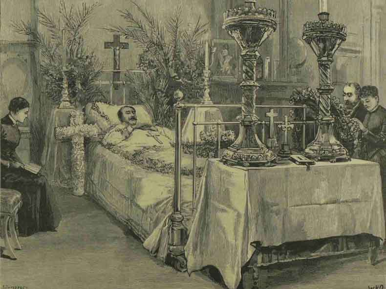 Prince Albert lying dead on his bed.