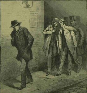A group of three man watch a Jack the Ripper suspect.