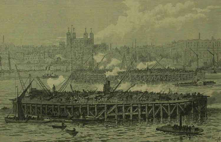 An illustration showing the two piers of Tower Bridge under construction.
