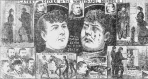 Illustrations showing the finding of the body of Annie Chapman.