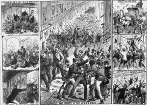 Various illustrations showing the rioting in the West End of London.