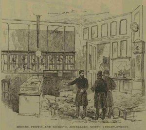 The interior of a looted shop.