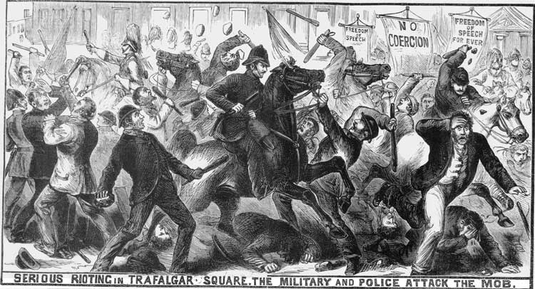 The riots in Trafalgar Square now known as Bloody Sunday.