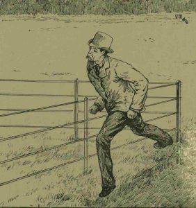 Sir Charles Warren running across the park.