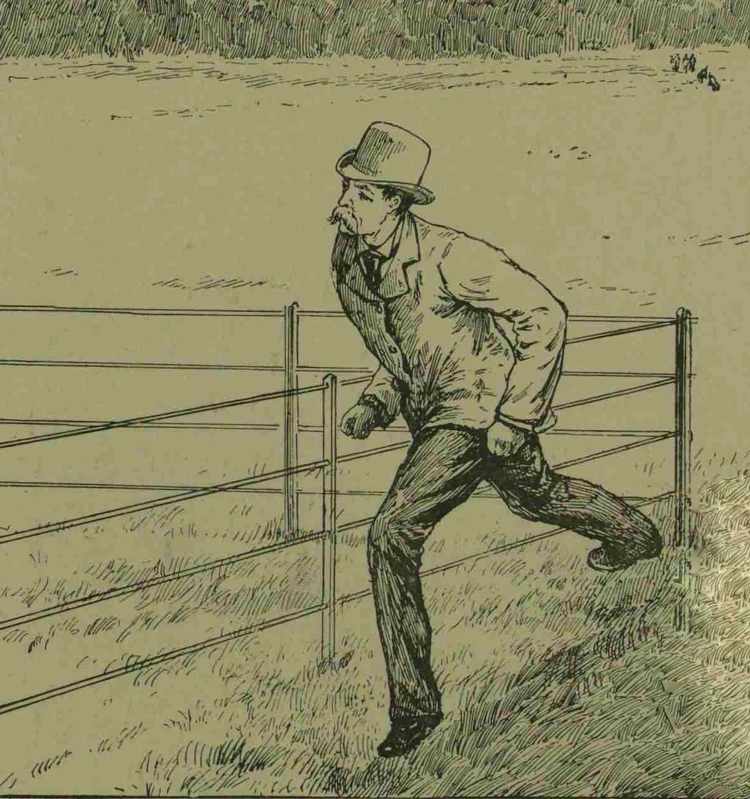 Sir Charles Warren running across the park.