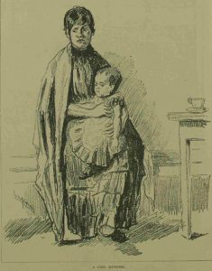 An illustration of a girl with a baby.