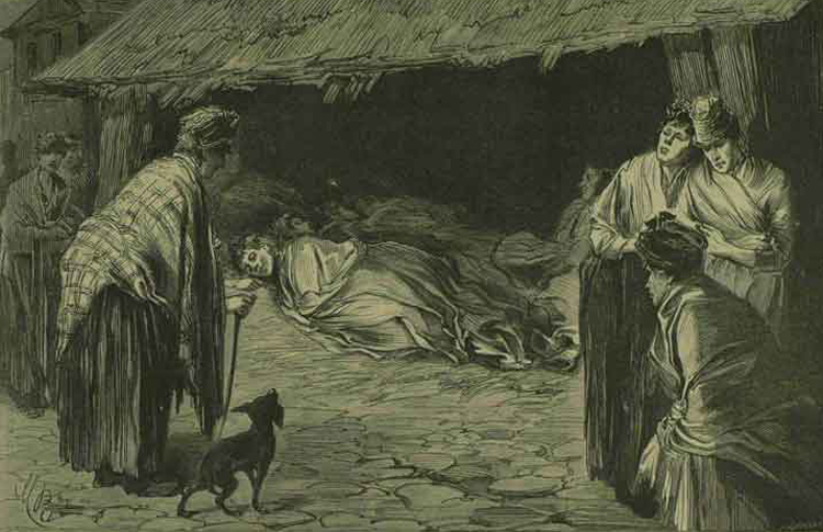 An illustration showing homeless people in Whitechapel in 1888.