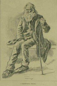 A bearded professional beggar.