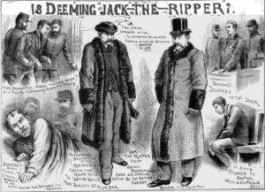 An illustration from the Illustrated Police News comparing Deeming to descriptions of Jack the Ripper.