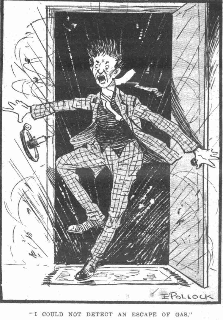 A cartoon drawing of a man not detecting a gas leak.