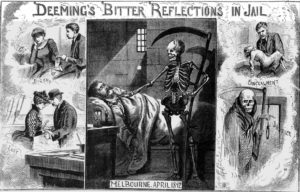 Illustrations showing Deeming in his cell.