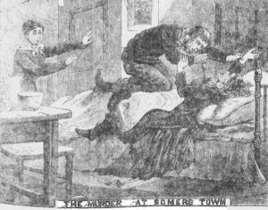 An illustration showing the murder of Mary Newman by Charles Latham.