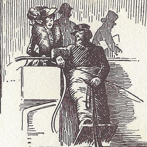 An illustration showing an omnibus driver.