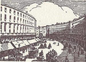 An illustration showing Regent Street in 1938.