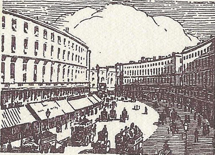 An illustration showing Regent Street in 1938.