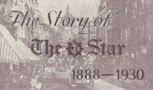A photograph of St Paul's Cathedral and Ludgate Hill with The Story of the Star, 1888 - 1938, written over it.