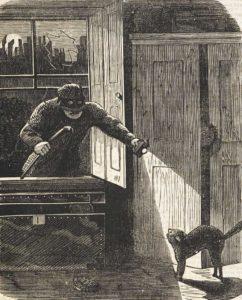 An illustration of a burglar breaking into a house through an open window.