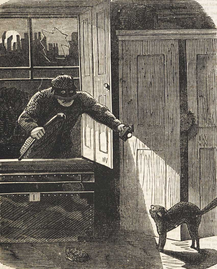 An illustration of a burglar breaking into a house through an open window.