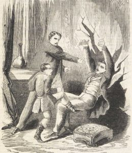 An illustration showing two wild boys attacking a man.