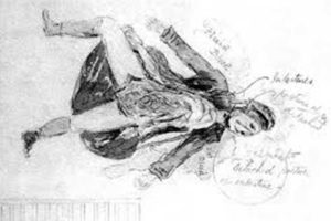 The sketch of Catherine Eddowes body from 1888