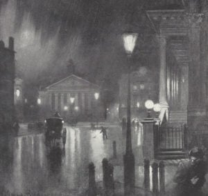An illustration of the area around Bank at night.