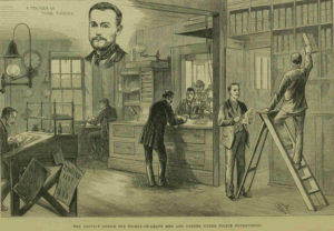 An illustration of the convict office at the Metropolitan Police Headquarters.