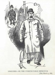 A cartoon showing a detective in disguise.