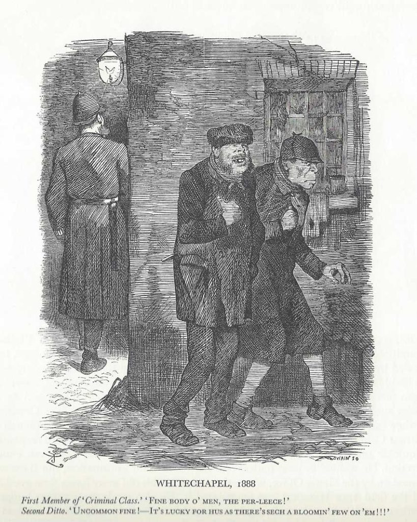 An illustration showing two burglars behind a policeman.