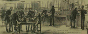 The interior of the police telegraph office.