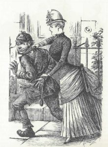 An illustration showing a woman police officer arresting a suspect.