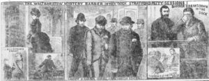 Illustrations showing William Barber's court appearance.